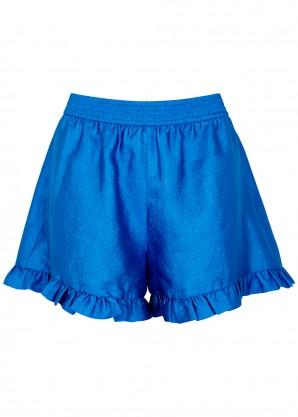 Stine Goya Joselyn blue ruffled taffeta shorts