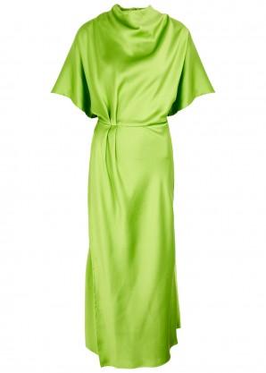 Stine Goya Rhode green draped satin midi dress
