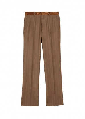 Burberry Classic fit velvet trim wool cashmere trousers