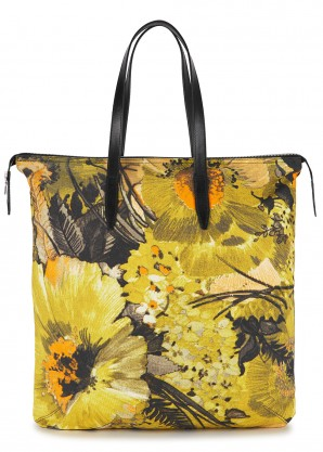 Dries Van Noten Yellow floral-print canvas tote