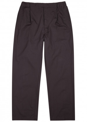 Lemaire Navy pleated cotton trousers
