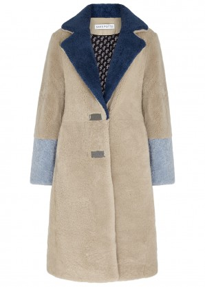 Saks Potts Febbe colour-blocked shearling coat