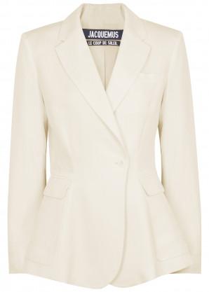 Jacquemus Le Veste Qui Vole white twill blazer