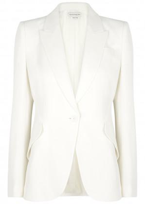Alexander McQueen Ivory crepe blazer