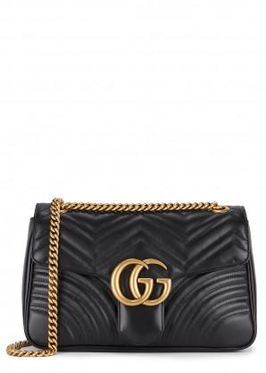 Gucci GG Marmont medium black leather shoulder bag