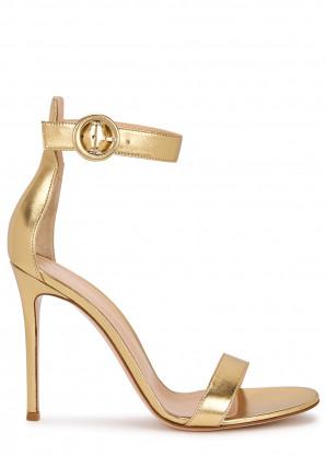 Gianvito Rossi Portofino 105 gold leather sandals