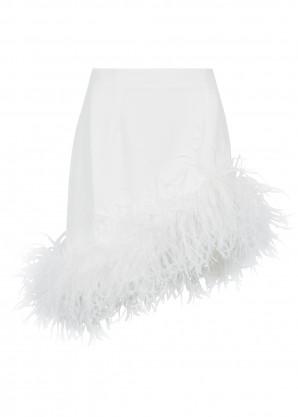 16 Arlington Viven white feather-trimmed mini skirt