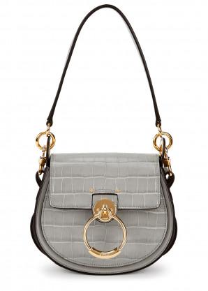 Chloé Tess grey crocodile-effect leather shoulder bag