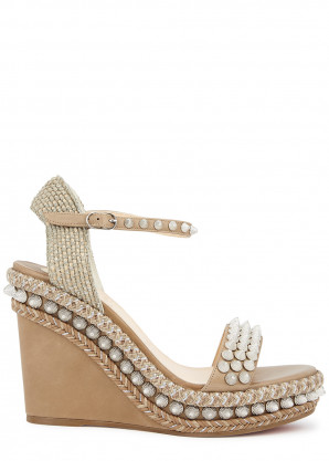 Christian Louboutin Lata 110 taupe leather wedge sandals