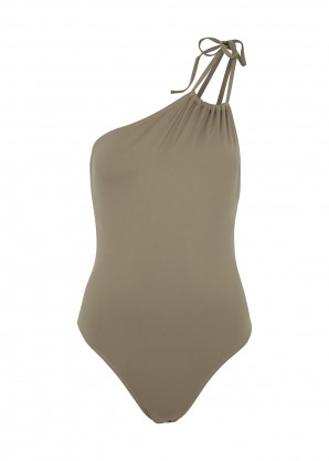 Gimaguas Ferret army green one-shoulder swimsuit