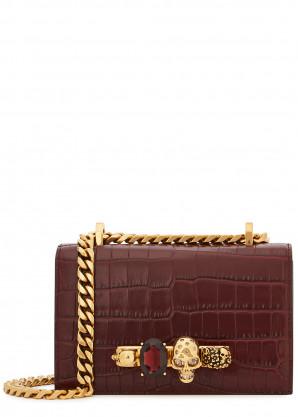 Alexander McQueen Jewelled Satchel mini crocodile-effect cross-body bag