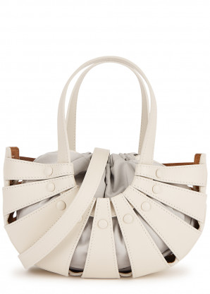 Bottega Veneta The Shell off-white leather top handle bag