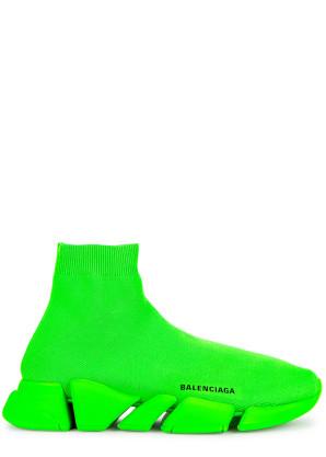 Balenciaga Speed 2.0 neon green stretch-knit sneakers