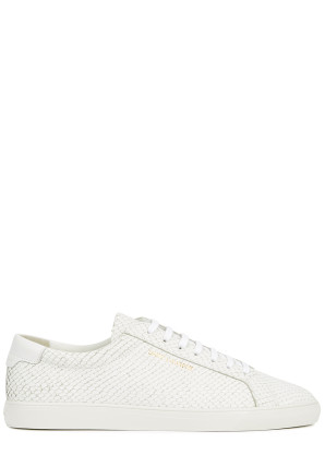 Saint Laurent Andy white python-effect leather sneakers