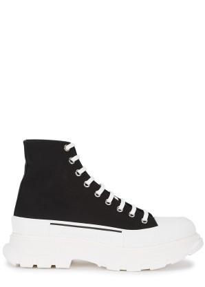 Alexander McQueen Tread Slick black canvas hi-top sneakers