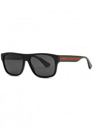 Gucci Black rectangle-frame sunglasses