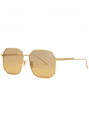 Bottega Veneta Gold-tone square-frame sunglasses