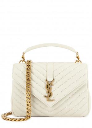 Saint Laurent College medium white leather cross-body bag