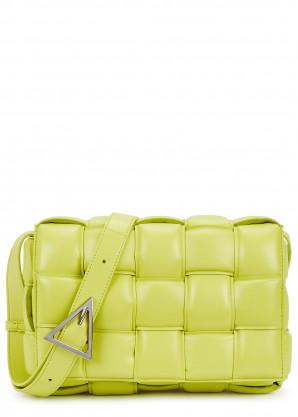 Bottega Veneta Cassette lime padded leather cross-body bag