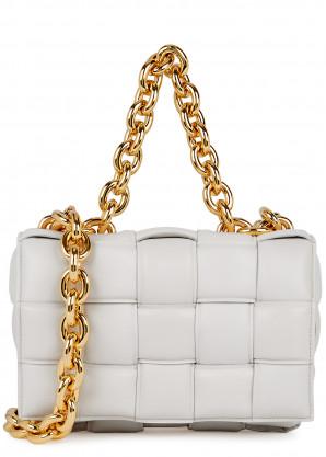 Bottega Veneta The Chain Cassette white leather cross-body bag