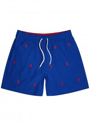 Polo Ralph Lauren Blue logo-embroidered shell swim shorts