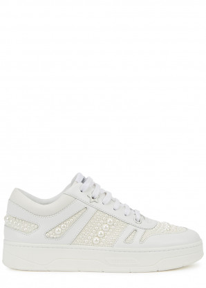 Jimmy Choo Hawaii/F white embellished leather sneakers
