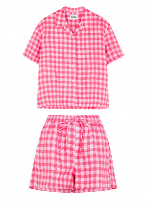 Holiday The Label Pink gingham linen co-ord set