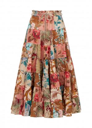 Zimmermann Cassia floral-print cotton midi skirt