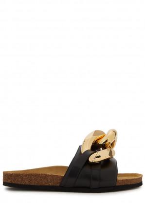 JW Anderson Black chain-embellished leather sliders