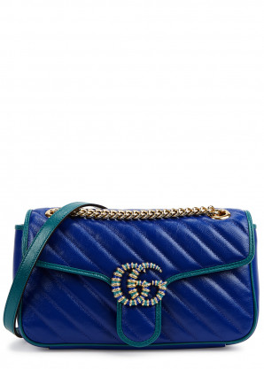 Gucci GG Marmont small blue leather cross-body bag