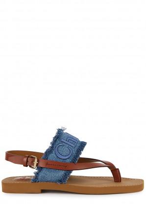 Chloé Woody denim thong sandals