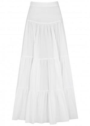 Bird & Knoll Elouise white tiered cotton maxi skirt