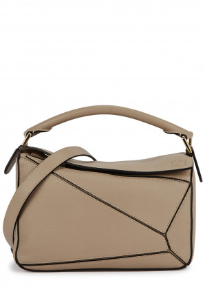 Loewe Puzzle small taupe leather cross-body bag