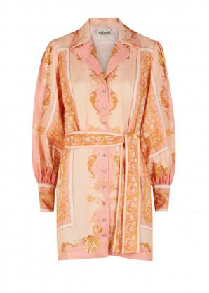 ALEMAIS Ursula printed linen shirt dress