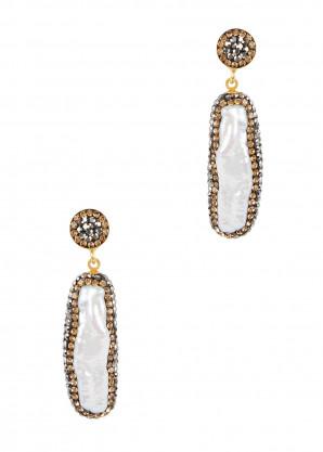 Soru Jewellery Baroque Pearl 18kt gold vermeil earrings