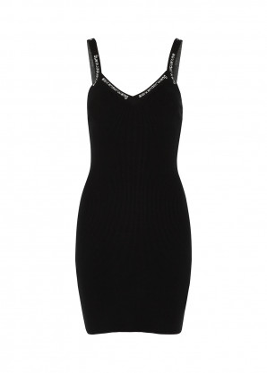 alexanderwang.t Black logo-trimmed ribbed-knit mini dress