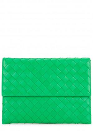 Bottega Veneta Intrecciato medium green leather pouch