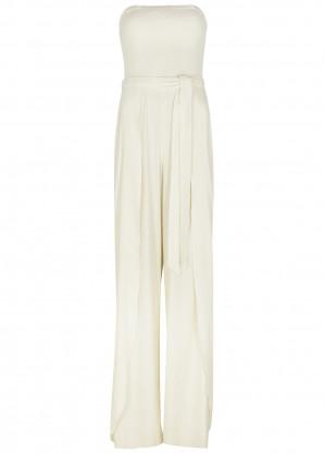 Alice + Olivia Bebe off-white strapless linen-blend jumpsuit
