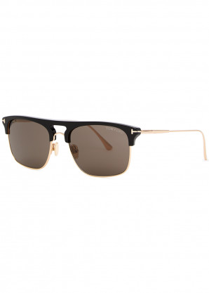 Tom Ford Lee gold-tone clubmaster-style sunglasses