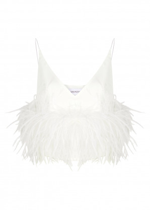 16 Arlington Poppy white feather-trimmed top
