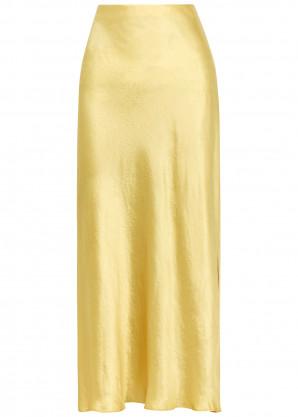 Vince Yellow satin midi skirt