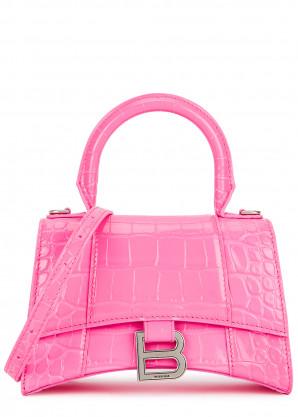 Balenciaga Hourglass XS crocodile-effect top handle bag
