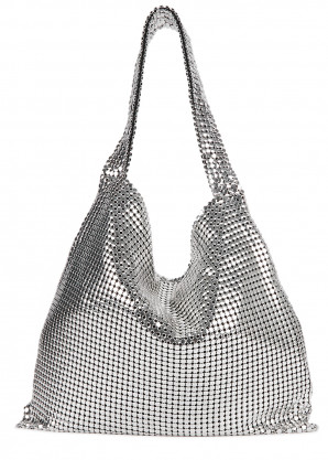 Paco Rabanne Pixel silver-tone chainmail shoulder bag