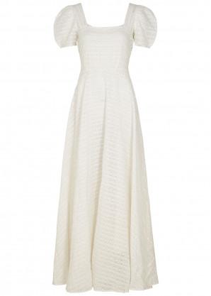 LoveShackFancy Ryan ivory embroidered cotton maxi dress