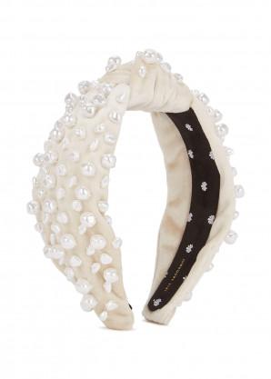 Lele Sadoughi Ivory faux pearl-embellished velvet headband