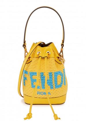 Fendi Mon Tresor mini yellow crochet bucket bag