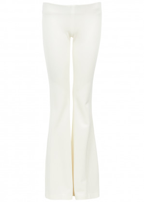 Galvan White flared satin-jersey trousers