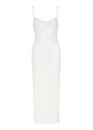Galvan Verona white sequin midi dress