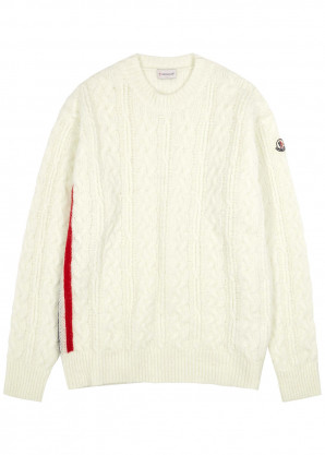 Moncler Cream cable-knit wool-blend jumper