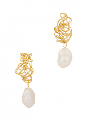 Completedworks Pearl-embellished 14kt gold-plated earrings